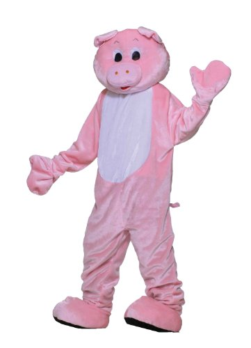 Forum Deluxe Plush Pig Mascot Costume, Pink, One Size