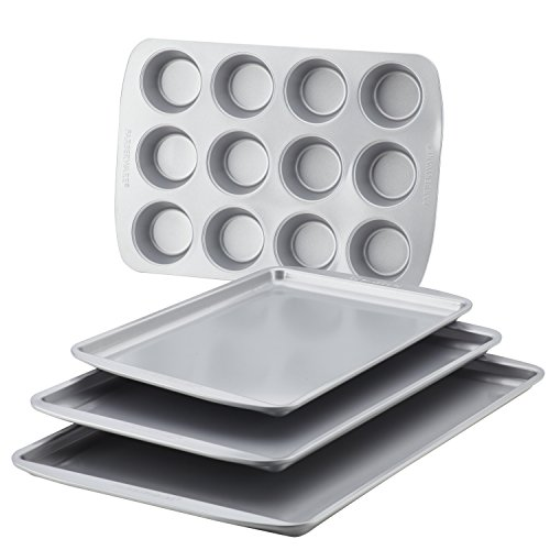 Farberware Nonstick Bakeware 4-Piece Baking Sheet Set, Gray