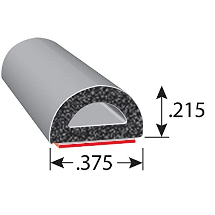 """Trucks 25/' Length 0.75/"""" Height High Strength Tape System Thick Wall 3M Ideal Door and Window Weather Seal for Cars Trim-Lok D-Shaped Rubber Seal and Boats EPDM Foam Seal with BT RVs 0.75/"""" Width"""