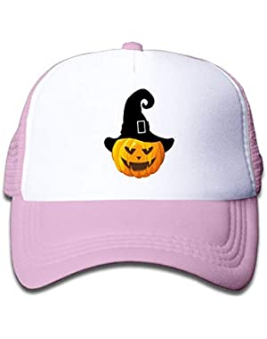 Pumpkin with Witch Hat1 On Boys and Girls Trucker Hat, Youth Toddler Mesh Hats Baseball Cap