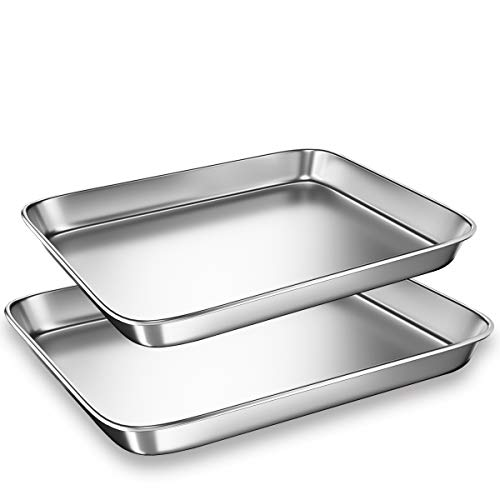 Cookie Sheets Pans for Toaster Oven,Small Stainless Steel Baking Sheet Tray, BYkooc Dishwasher Safe Oven Pan, Anti-rust, Sturdy & Heavy, 9 x 7 x 1 & 10 x 8 x 1 inch, 2 pcs/set (Pan For Toaster Oven)