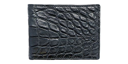 Black Genuine Alligator Millennium Bifold Wallet – Alligator Inside and Out RARE - Factory Direct - Gift Box – Slim Bllfold - Made in USA by Real Leather Creations FBA297 by Real Leather Creations (Image #2)