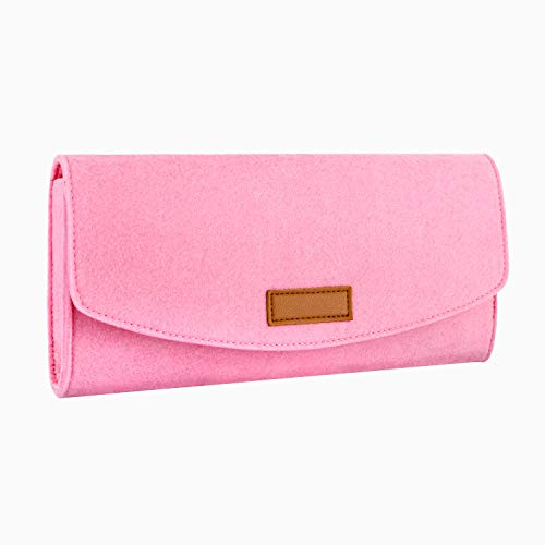 MoKo Slim Case for Nintendo Switch, Portable Carrying Case Felt Pouch Bag for Nintendo Switch 2017 with Game Cartridges Holders - Pink