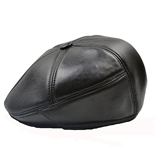 Yosang Men's Genuine Leather Driving Cap Flat Cap Cabby Hats Caps Simple Retro Newsboy Cap X-Large Black