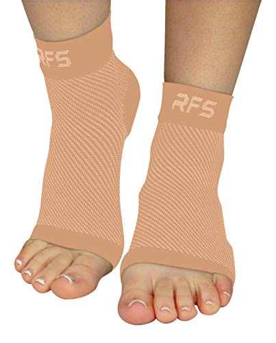 Plantar Fasciitis Foot Compression Sleeves for Injury Rehab & Joint Pain. Best Ankle Brace - Instant Relief & Support for Achilles Tendonitis, Fallen Arch, Heel Spurs, Swelling & Fatigue (Beige, LRG)