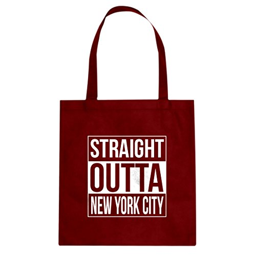Outta Time T-shirt - Tote Straight Outta New York City Large Red Canvas Bag