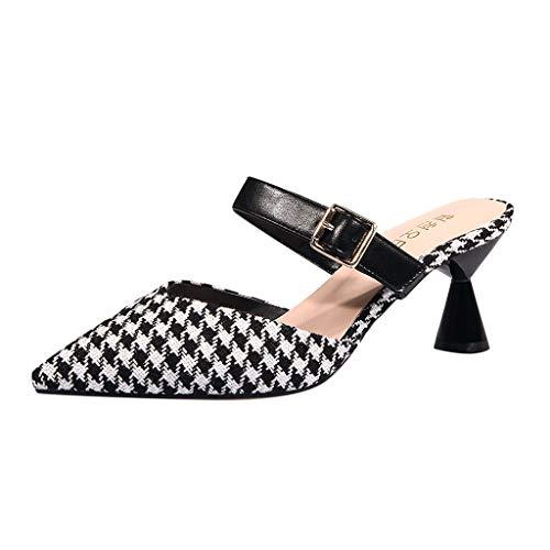 ℱLOVESOOℱ Women's Elegant Mid Heels Sandals, Pointed Toe Slingback Stiletto Ladies Buckle Strap Mules Shoes Black