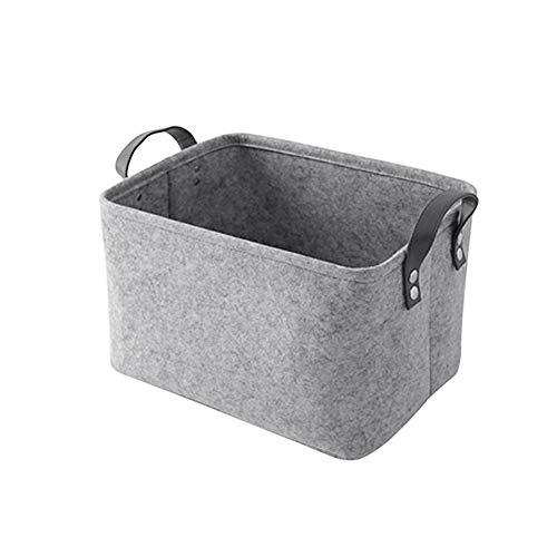 Lovt Storage Basket Bins Modern Simple with Handle Strap Laundry Hamper Sundries Holder Practical Toy Organizer Felt(SmallLight Gray) (Holder Hide Laundry)
