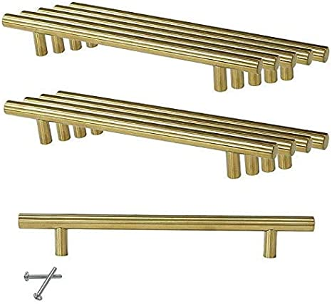 MARGUERAS 10pcs dorado acero inoxidable T barra Cusine/ /Tirador barra de puerta de armario con tornillo