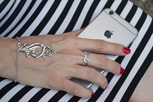 sterling silver slave bracelet,hand chain,hand jewelry,boho slave