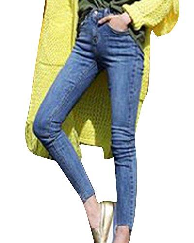 Jeans Slim Alta Vita Retro Fit A Pantaloni Donna Pantalone Matita Blu Magro Denim qS4YR