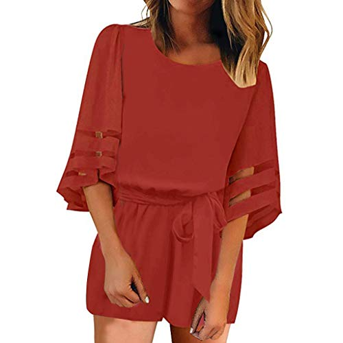 Amlaiworld Women Plus Size Suite Mesh Panel Blouse 3/4 Bell Sleeve Self-Tie Belted Short Romper Jumpsuits Red