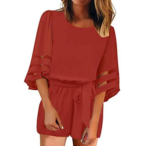 (Women's Short Jumpsuit,3/4 Sleeve Mesh Loose Waist Belt Pure Back Zipper Up Romper (S, Red))