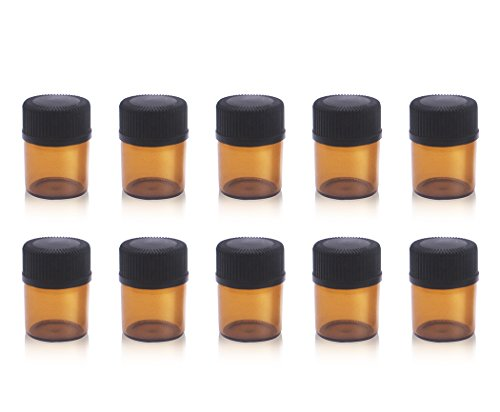 10 Pack Set 1ml Amber Glass Vials Small Mini Essential Oil Bottle with Orifice Reducer and Cap Small Bottles (Tiny Container Sample)