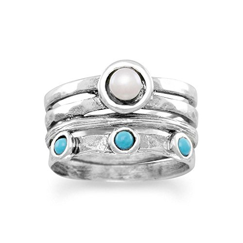 Precious Stars Jewelry Sterling Silver Reconstituted Turquoise and Cultured Pearl Multi-Band Ring ()