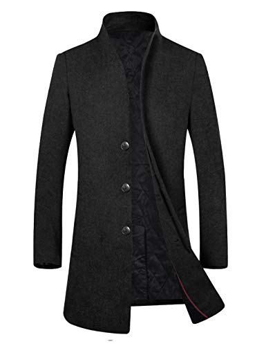 APTRO Men's Fleece Lining Slim Fit Wool Trench Coat 1681 Black XS