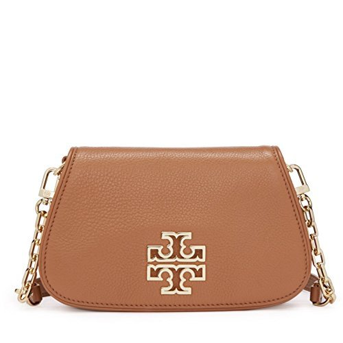 Tory Burch 39058 209 Britten Mini Chain Bark Pebbled Leather Gold-Tone Hardware Crossbody - Brown Tory Bag Burch