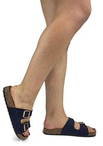 Buckle Denim - Anna Women's Double Strap Cork Sole Slide Sandal with Buckle, Denim Blue, 7