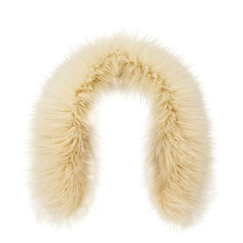 Ecru Apparel (Futrzane Trim Hood Faux Fake Fur Hood Winter for Jacket Ski Collar Wrap Shawl (XS, Ecru))