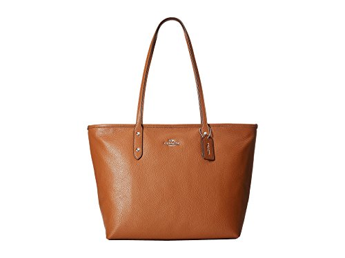 COACH Women's Pebbled City Zip Tote SV/Saddle Tote