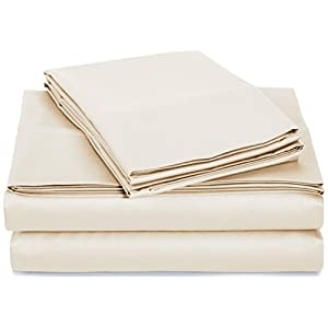 AmazonBasics 400 Thread Count Sheet Set, 100% Cotton, Sateen Finish - Cal King, Beige