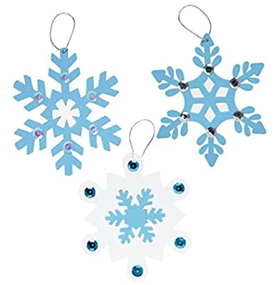 Snowflake Ornaments Craft Fun Foam Kit Makes 24