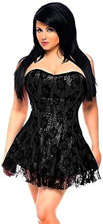 Amazon.com: Daisy Corsets Women's Lavish Black Lace Corset Dress ...