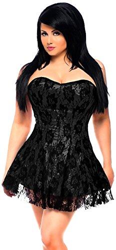 s Lavish Lace Corset Dress, Black, 3X ()
