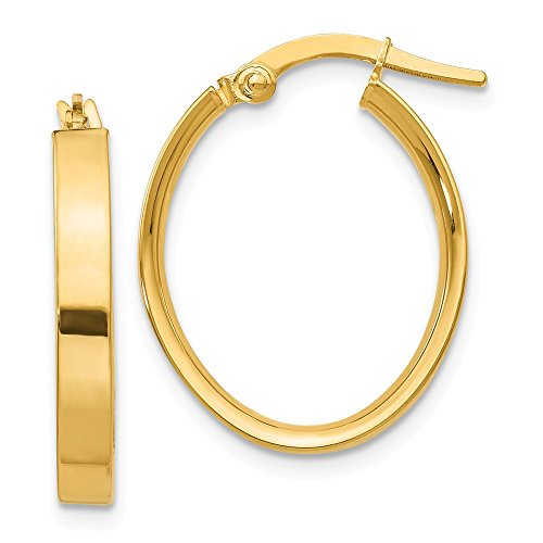 14k Yellow Gold Oval Hoop Earrings Ear Hoops Set Fine Jewelry Gifts For Women For Her