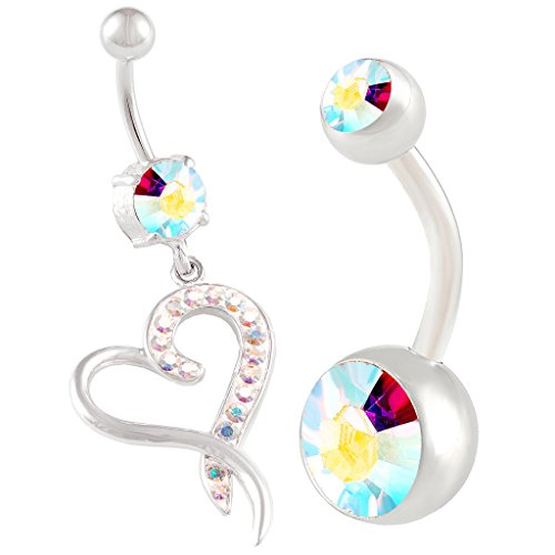 2Pcs 14g 3/8 Inch 10mm Heart Crystal Belly Button Rings Dangle Sexy Surgical Steel Cute Navel Piercing Jewelry AB ()