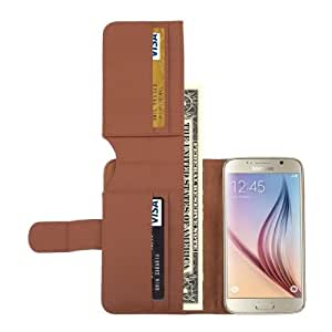 Litchi Texture Leather Case with Seven Card Slots & Wallet for Samsung Galaxy S6 (Brown)