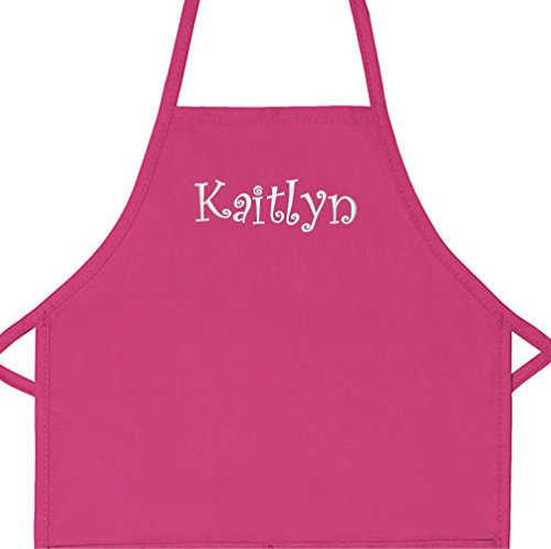 Personalized Apron Embroidered Add a Name Kids Apron (Hot Pink, Long 16