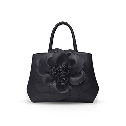 NICOLE & DORIS Bolso de hombro de mujer de moda Bolso Crossbody Patrón de flor Negro