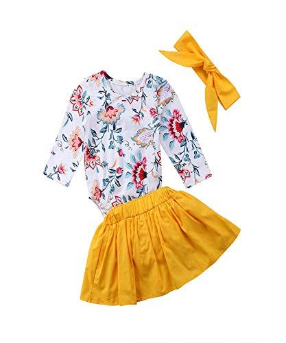 Baby Girl Fall Clothes Newborn Girls Floral Long Sleeve Romper + Golden Skirt Outfit Set (Long Sleeve Romper, 6-12M)