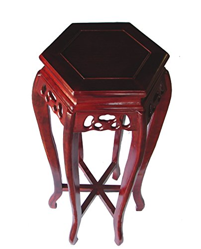 - Feng Shui Import 24 inch Hexagon Wood Tall Curved-Legged Plant Stand in Cherry Finish