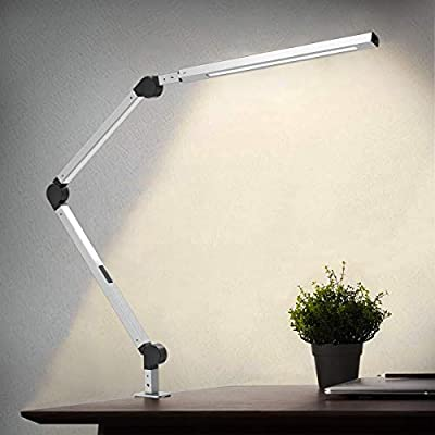 Lámpara Escritorio LED, Wellwerks 9W Lámpara de Mesa Abrazadera ...