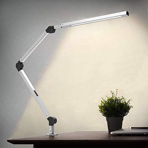 Lampara Escritorio LED, Wellwerks 9W Lampara de Mesa Abrazadera Brazo Oscilante Luz Regulable con 6 Modos de Color + Temporizador + Memoria para Lectura Trabajo Oficina (Plateada)