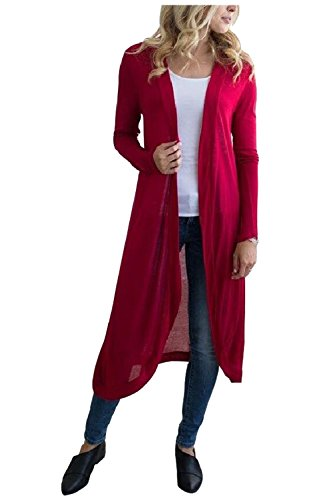 Aifer Womens Long Sleeve Open Front Cardigan Solid Color Long Cover up Outwear Coat