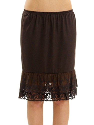 Melody Womens Lace Extender Slip Skirt Half Slip (Large, Dark Brown) - Dark Brown Slip