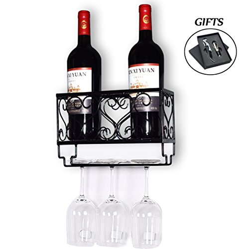HOMEPOPULAR Metal Wall Mounted Wine Rack With Glass Holder And Bottles Opener Wine Bottle Holder For Living Room Or Kitchen,Black(Hold 2 bottles) by HOMEPOPULAR