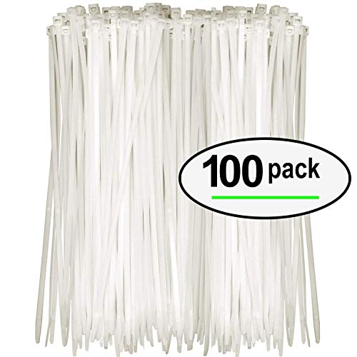 Tarvol Nylon Zip Ties (Pack of 100) 8 Inch with Self Locking Cable Ties (White)