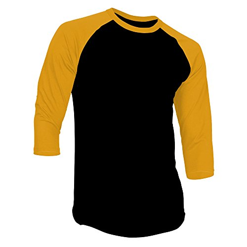 DealStock Men's Plain Raglan Shirt 3/4 Sleeve Athletic Baseball Jersey S-3XL (40+ Colors),Black Gold,Large -