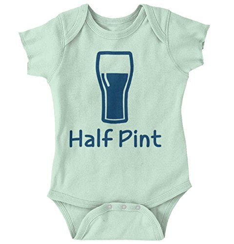 Half Pink Funny Shirt Cute Baby Clothes Drinking Toddler Gift Romper (Ink Pint Bottle)