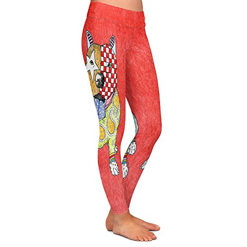 Athletic Yoga Leggings from DiaNoche by Marley Ungaro - Pitbull Dog Watermelon (Watermelon Pits)