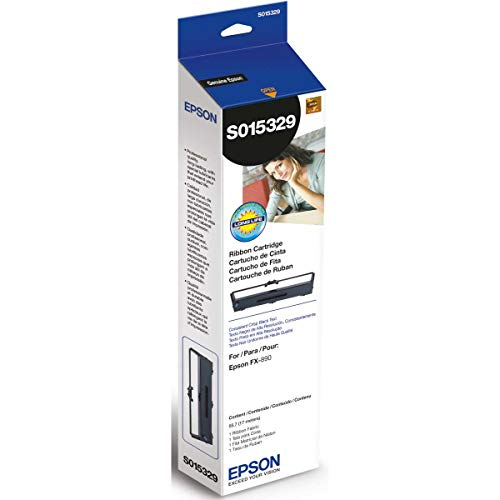 - Epson S015329 FX-890 Fabric Ribbon Cartridge (Black) in Retail Packaging
