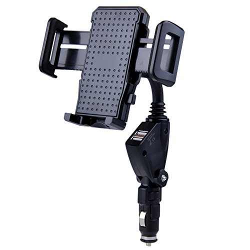 Carejoy Car Mount Holder, Cigarette Lighter Car Mount with Dual USB Charger for smart phones, PDA, MP3, GPS, and other small electronic devices