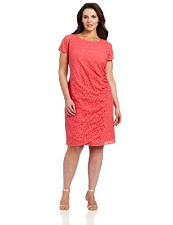 DKNYC Women's Plus-Size Cap Sleeve Dress With Side Drape And Exposed Zipper, Bright Bloom, 14W