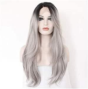 شعر مستعار طويل مصنوع من شعر طبيعي للنساء بنمط مستقيم - لون رمادي