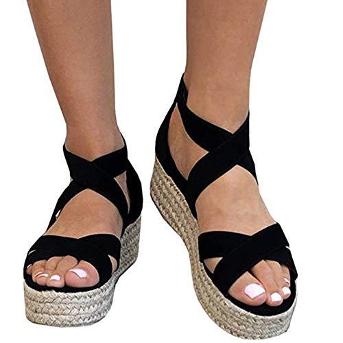 - Athlefit Women's Criss Cross Strap Platform Sandals Band Open Toe Ankle Buckle Espadrille Sandals Size 7 Black