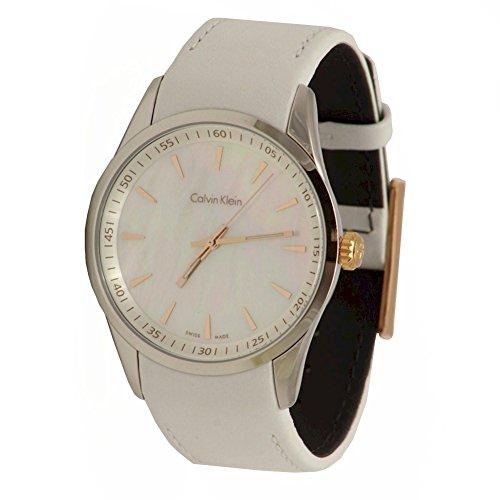 Calvin Klein K5A31BLG White Leather Strap Mother Of Pearl Dial Ladies Watch Calvin Klein Womens White Dial